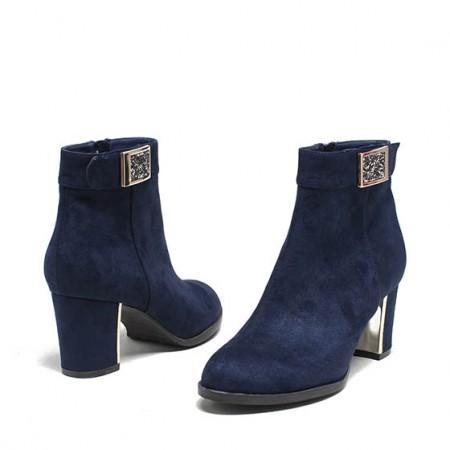 达芙妮粗跟高跟磨砂布金属装饰踝靴1015605085