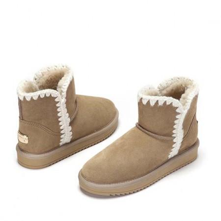 达芙妮冬季新款舒适百搭花边牛皮绒面雪地靴1016608009