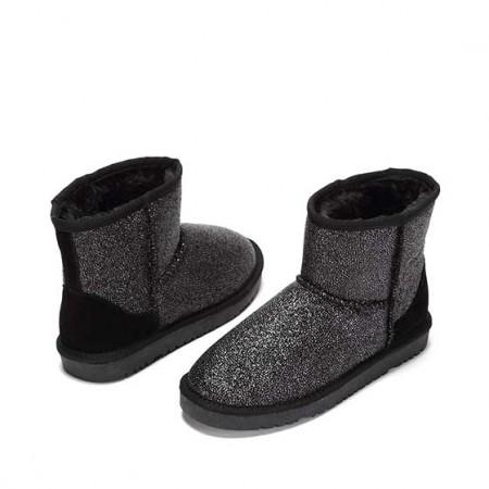 达芙妮冬季新款舒适时尚拼色平底雪地靴1016608011