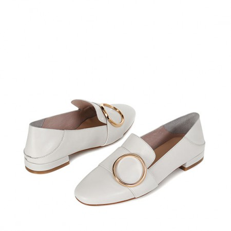 达芙妮时尚金属圆扣饰浅口牛皮女鞋1017101015·米白色
