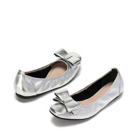 达芙妮休闲浅口牛皮蝴蝶结芭蕾舞鞋1017101024·银色