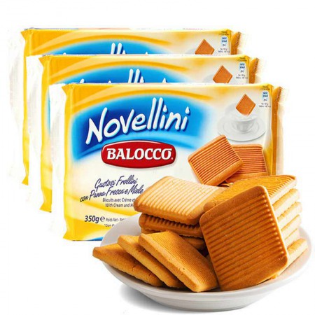 【包邮】意大利原装进口 百乐可奶油蜂蜜饼干3袋装