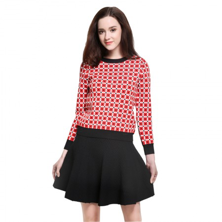 MAREUNROLS 圆领方块提花针织套头衫·红色