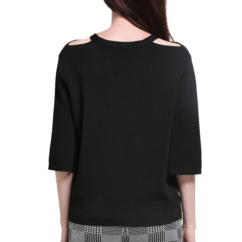 MAREUNROLS纯色套头镂空圆领针织衫·黑色