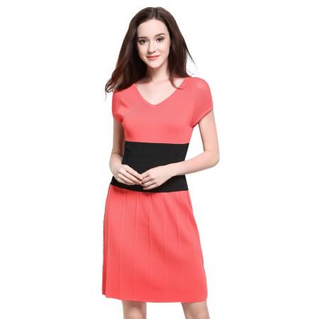 MAREUNROLS 时尚V领修身中长连衣裙·玫红