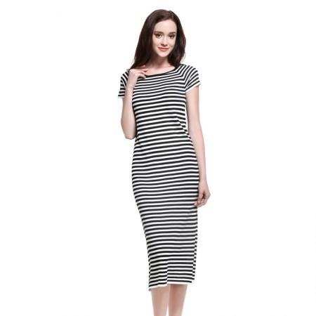 MAREUNROLS 修身条纹休闲中长款短袖长裙·条纹
