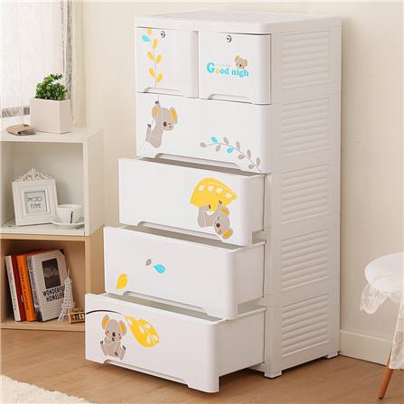 Yeya也雅宝宝抽屉式儿童衣柜收纳柜塑料 卡通储物柜五斗柜抽屉柜
