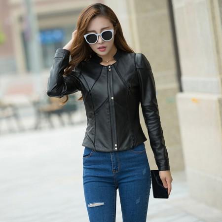 哈勃思娜 真皮修身时尚小外套327·优雅黑