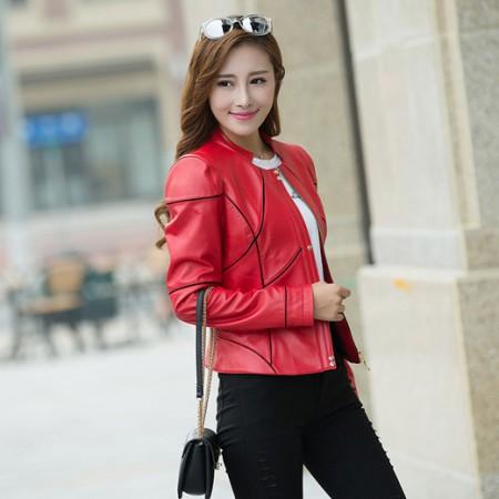 哈勃思娜 真皮修身时尚小外套327·中国红