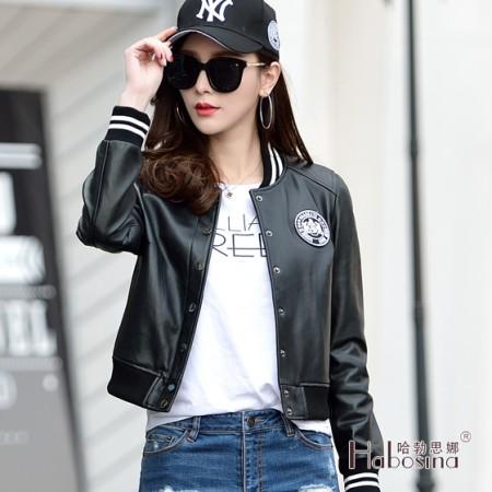 哈勃思娜 真皮棒球款夹克枫叶标外套·黑色
