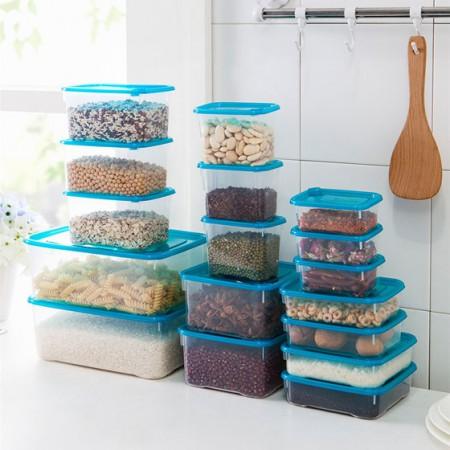 [JM]良品多用途保鲜盒套17件装·蓝色