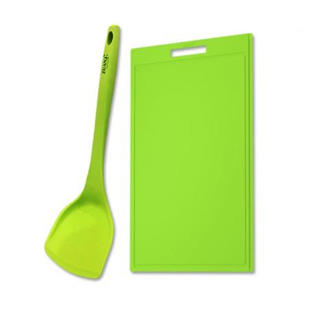 ZUANJ钻技 防滑硅胶砧板硅胶铲两件套·绿色