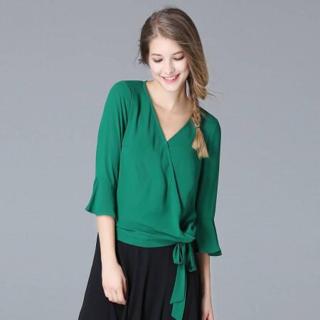 OLiSi 绿色经典V领喇叭袖纯色上衣·绿色