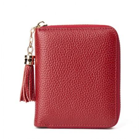 海谜璃(HMILY) 新款时尚收纳钱包 头层牛皮女士钱夹 气质流苏女卡包 H69