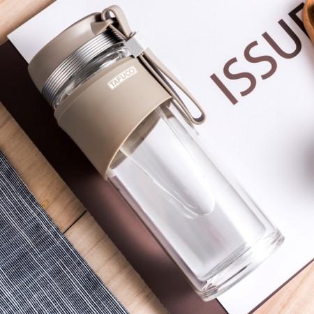 泰福高350ML双层提绳便携玻璃泡茶杯T8500·灰色