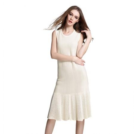 MAREUNROLS圆领无袖纯色背心长款连衣裙
