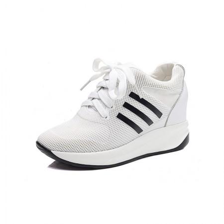 贝奴诗 牛皮网纱透气圆头运动系带内增高单鞋·白色