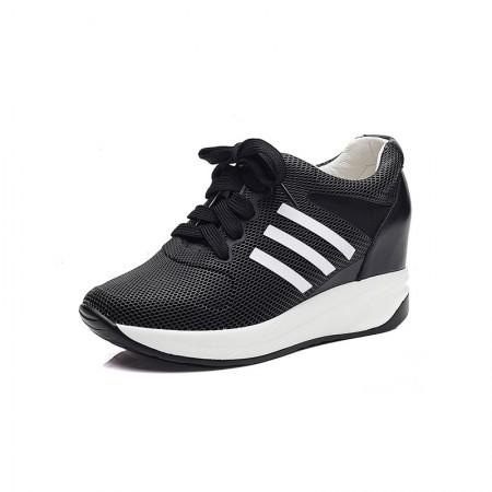 贝奴诗 牛皮网纱透气圆头运动系带内增高单鞋·黑色