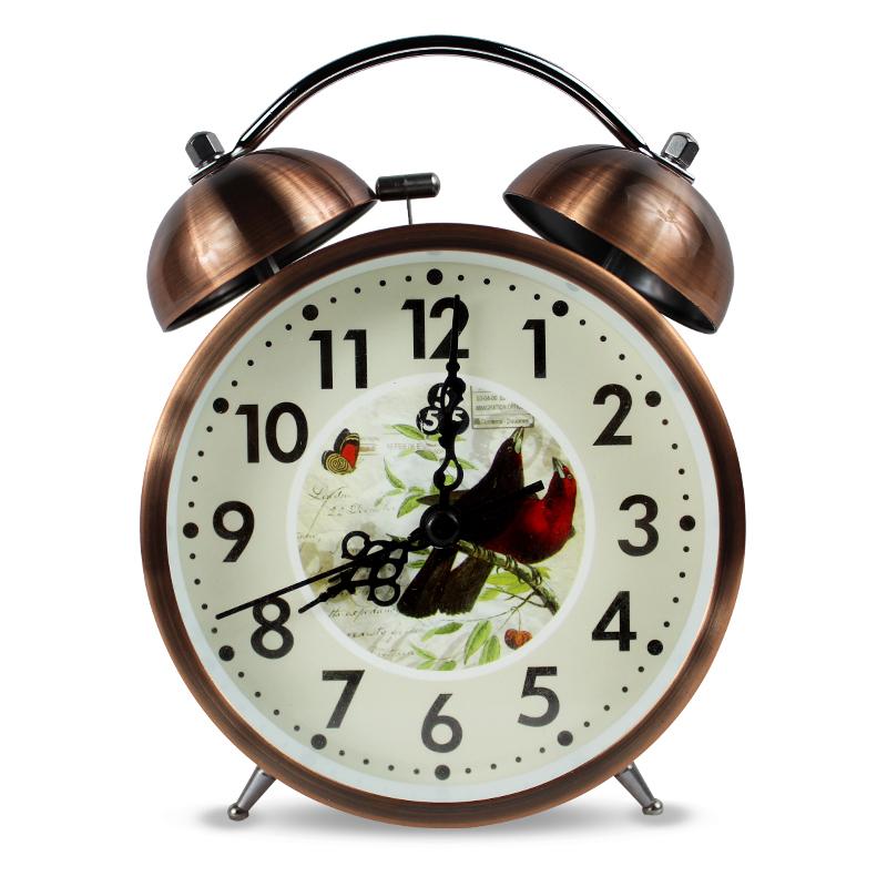 上海三五牌 经典静音创意金属小闹钟·仿铜色