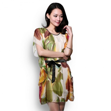 霓贝(SCNEARBY)真丝绿色蝙蝠袖连衣裙·绿色