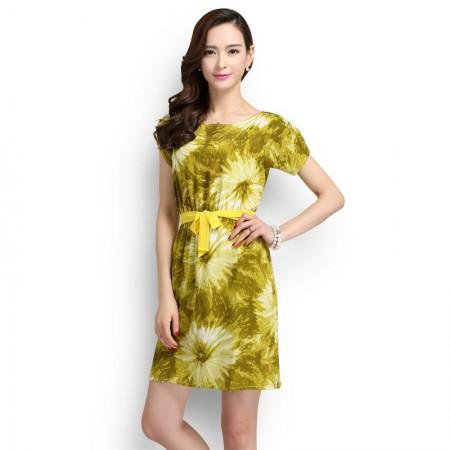 霓贝(SCNEARBY)真丝绽放印花修身连衣裙·黄绿色