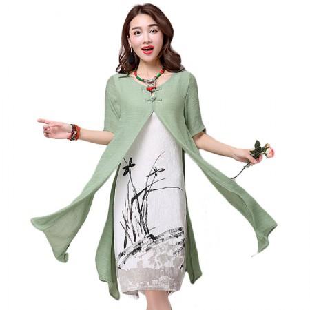 莺卡 气若幽兰棉麻假两件连衣裙·绿色/白色