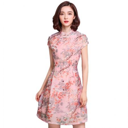 莺卡 红粉佳人古典盘扣小立领连衣裙·粉色