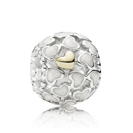 丹麦潘多拉(PANDORA) 白色爱心K金纯银串珠·白色