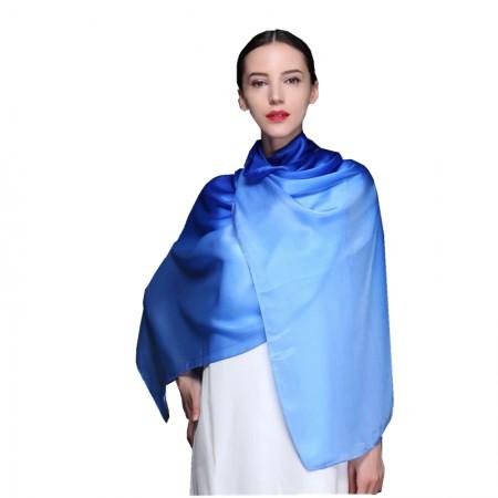 时间煮雨 渐变绉缎围巾·披肩·蓝色妖姬
