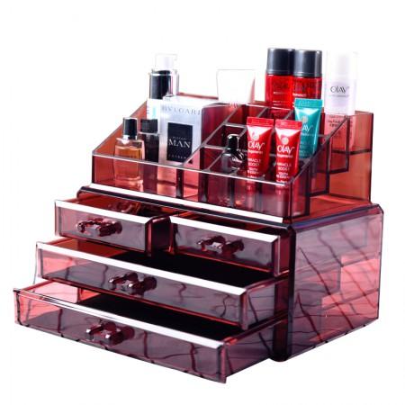 [JM] 亚克力桌面首饰化妆品收纳盒酒红色·酒红色
