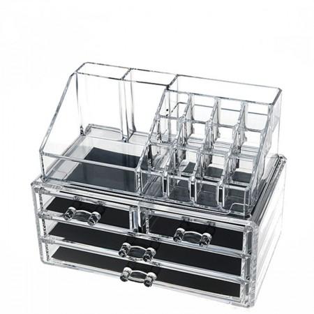 [JM] 亚克力桌面首饰化妆品收纳盒透明·透明
