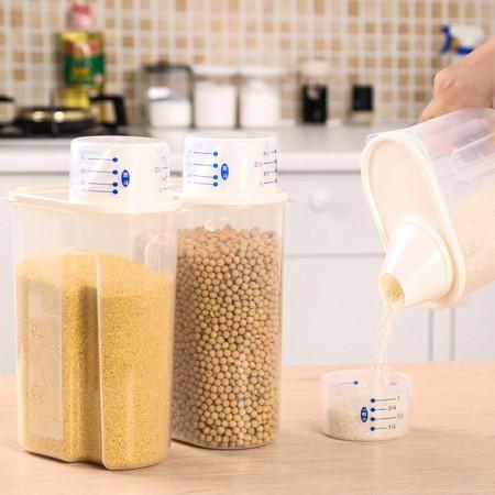 日本其乐居舍保护食物不受潮 米桶2.5L 白色2个装