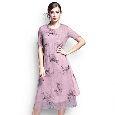 丝朵之丽 立体绣花桑蚕丝假两件连衣裙·粉色