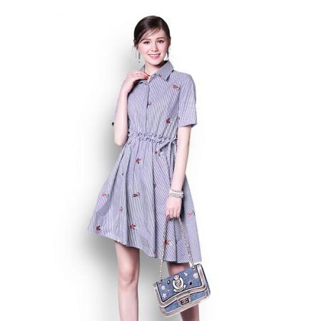 丝朵之丽 A字竖条纹清新连衣裙·蓝条纹