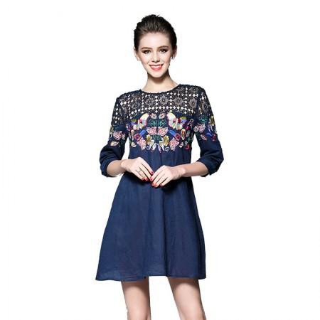 丝朵之丽 镂空刺绣A字型连衣裙【预售】·藏蓝色