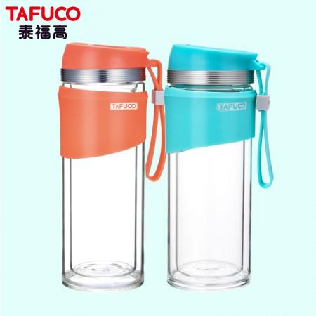 日本泰福高新款耐热双层情侣泡茶玻璃杯两件套350ML+350ML·橘色+薄荷绿