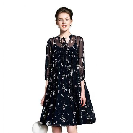 丝朵之丽 真丝印花七分袖连衣裙套装·2件【预售】·图片色