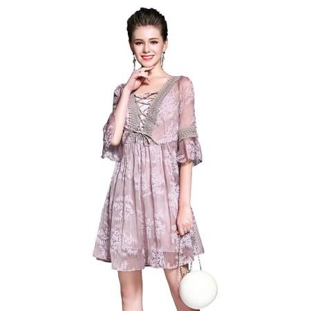 丝朵之丽 古典欧风绣花连衣裙·粉色