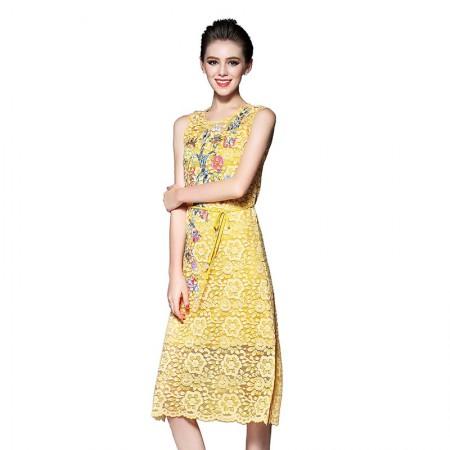 丝朵之丽  活力蕾丝绣花修身连衣裙·黄色