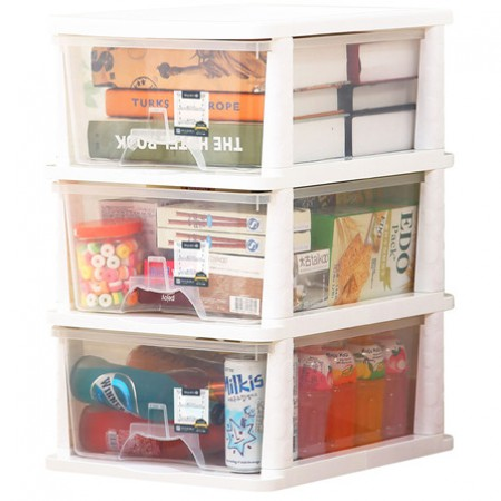 Yeya也雅 塑料抽屉式收纳柜3层·透明