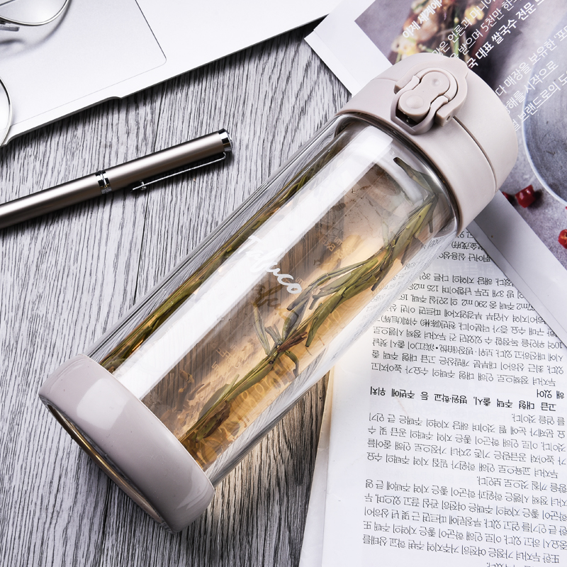 泰福高耐热双层玻璃杯办公室茶杯300ML