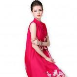 丁摩 改良旗袍重工刺绣连衣裙中长裙0824·红色