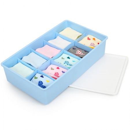 Yeya也雅带盖内衣收纳盒塑料内裤袜子抽屉分格整理储物盒子·蓝色