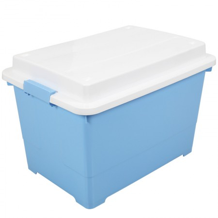 Yeya也雅 45L加厚塑料储物箱整理箱 玩具杂物被褥带凸盖收纳箱·蓝色