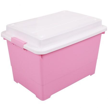 Yeya也雅 45L加厚塑料储物箱整理箱 玩具杂物被褥带凸盖收纳箱·粉色