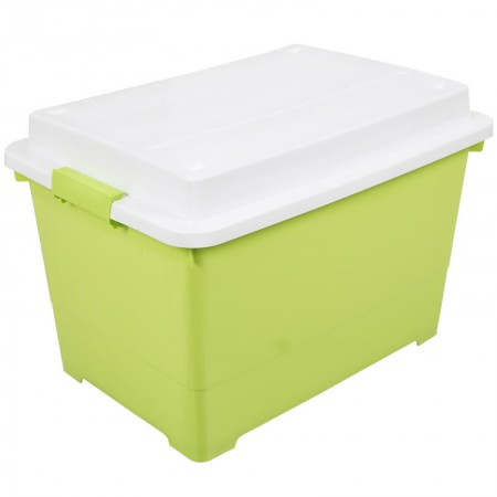 Yeya也雅 45L加厚塑料储物箱整理箱 玩具杂物被褥带凸盖收纳箱·绿色