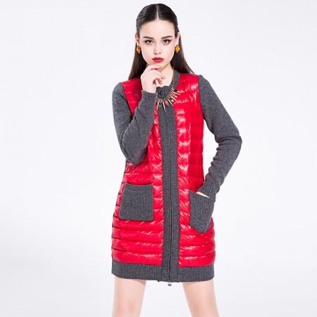 迪欧达 女士时尚圆领呢料羽绒服·大红