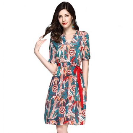 丝朵之丽 真丝V领抽带印花连衣裙·蓝色