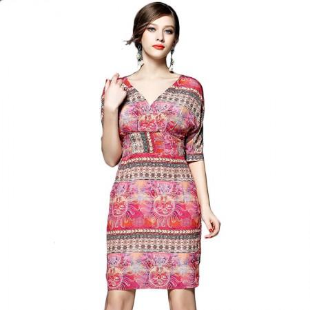 丝朵之丽 真丝V领收腰印花连衣裙·红色