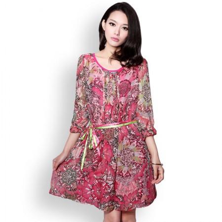 霓贝 真丝绚烂印花修身连衣裙·玫红色